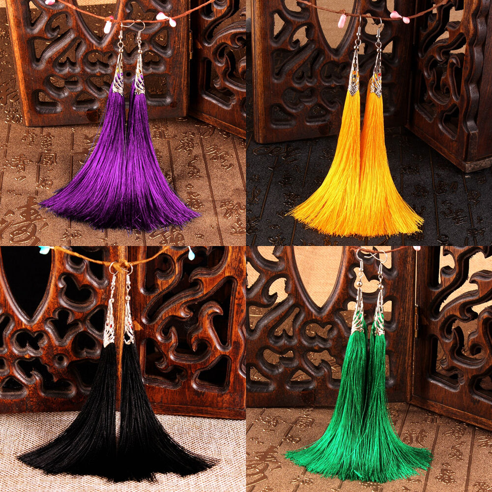 fashion bohemian earrings women vintage long tassels fringe dangle thread boho ebay. Black Bedroom Furniture Sets. Home Design Ideas