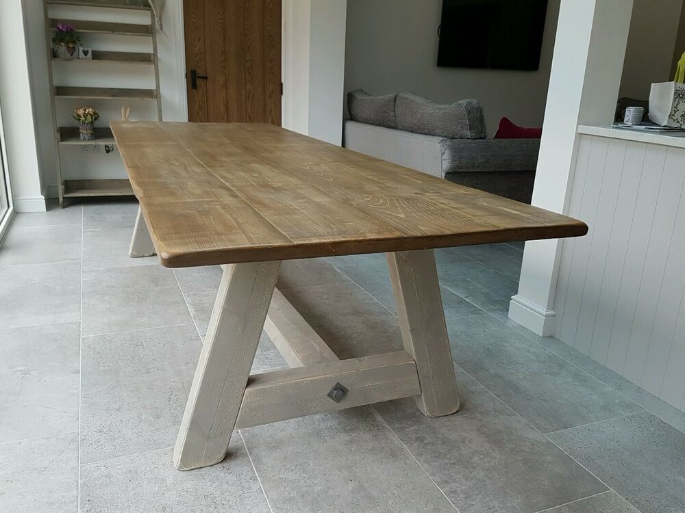 rustic wood hand made dining table ebay