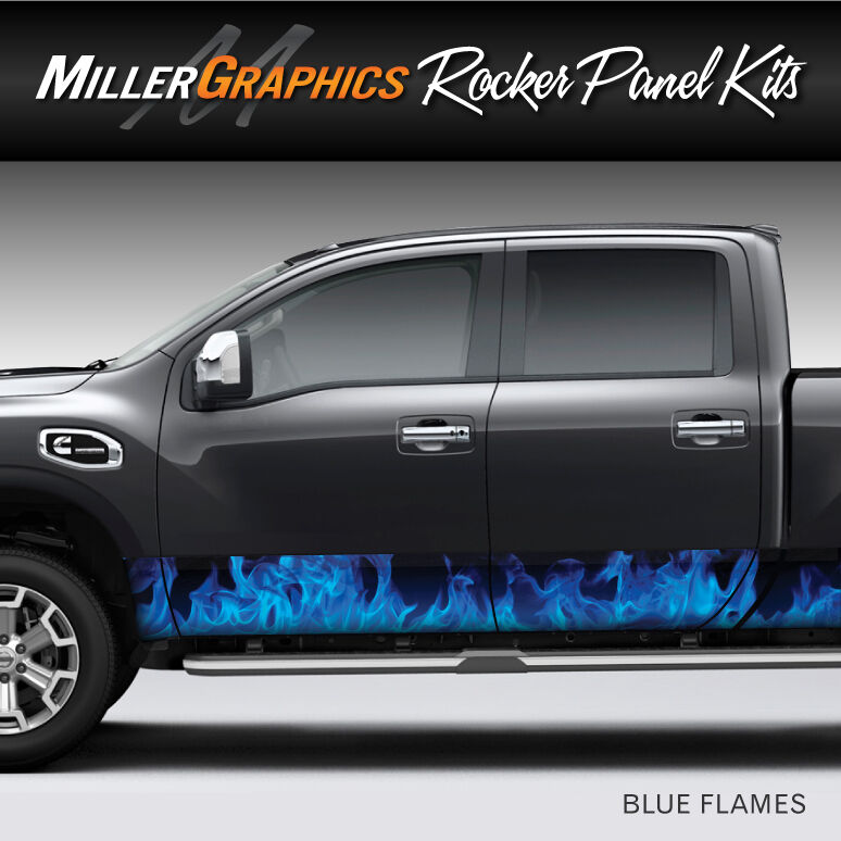 Flames Fire Blue Rocker Panel Graphic Decal Wrap Kit For