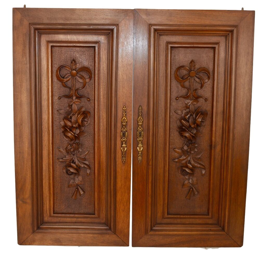 French antique louis xvi pair of carved salvaged wood door for Old wood doors salvaged