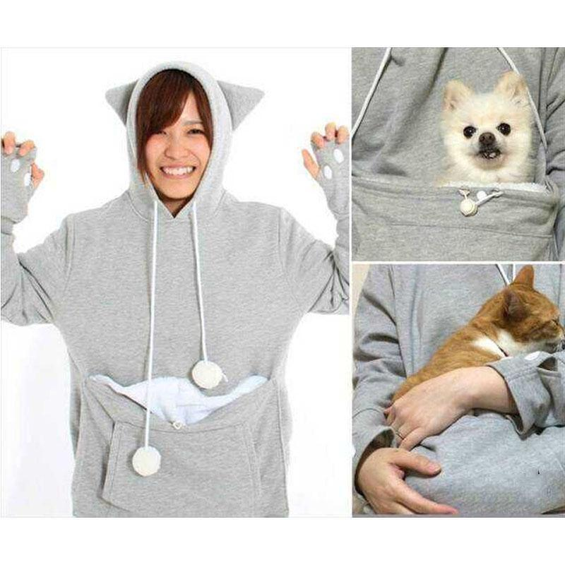 UK Unisex Kangaroo Pet Dog Cat Holder Carrier Coat Pouch Large - Hoodie with kangaroo pouch is the perfect cat accessory