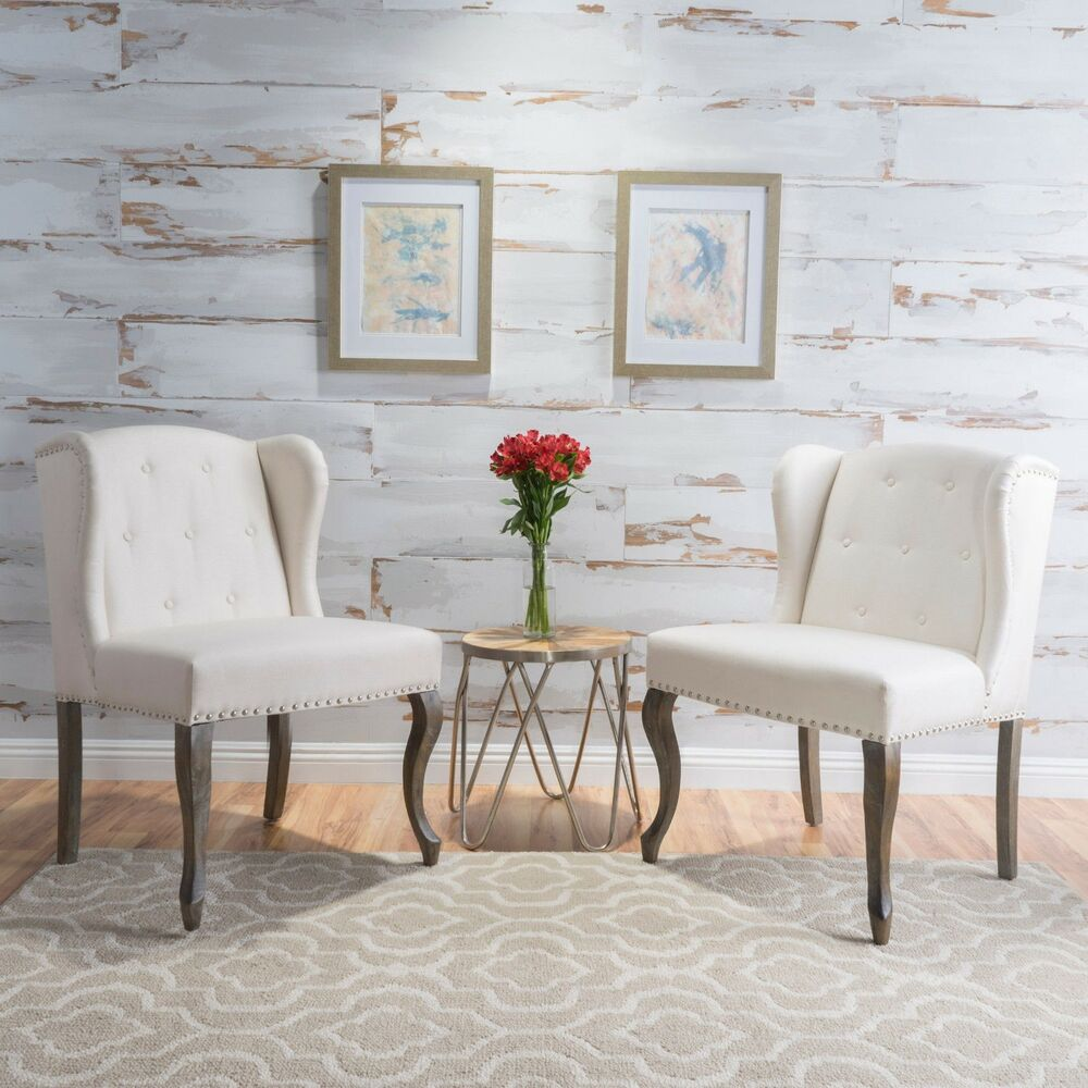 Arden Accent Chair 2 Pack With Table: Asheville Modern Fabric Wingback Chair (Set Of 2)