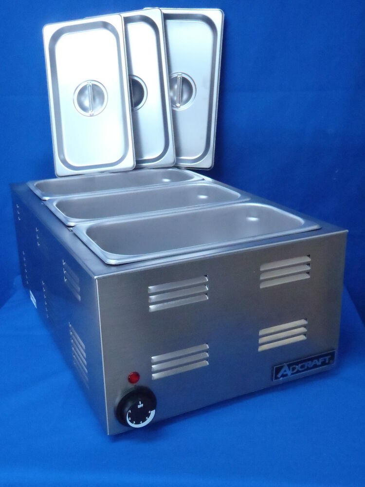 Steam Table Warmer With 3 1 3 Sized Pans With Covers Ebay