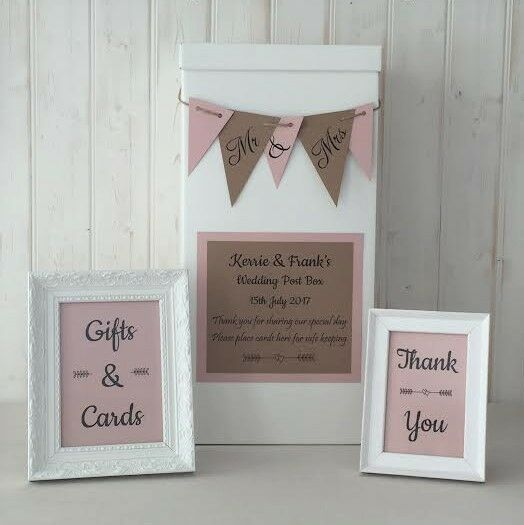 Personalised Wedding Card Post Box Bunting Gifts Cards Signs