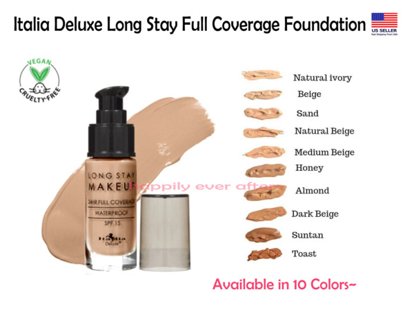 Italia Long Stay Make Up Foundation- Waterproof, SPF 15, Full Coverage *US SELL*