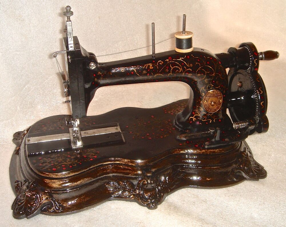 1860 antique gritzner original crank sewing machine figural iron casting base ebay. Black Bedroom Furniture Sets. Home Design Ideas