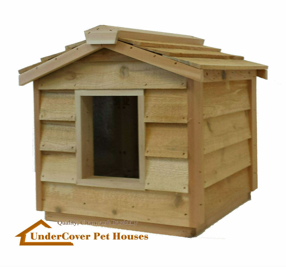 Insulated cedar cat house shelterkennel bedcrate ebay for Insulated dog houses for winter