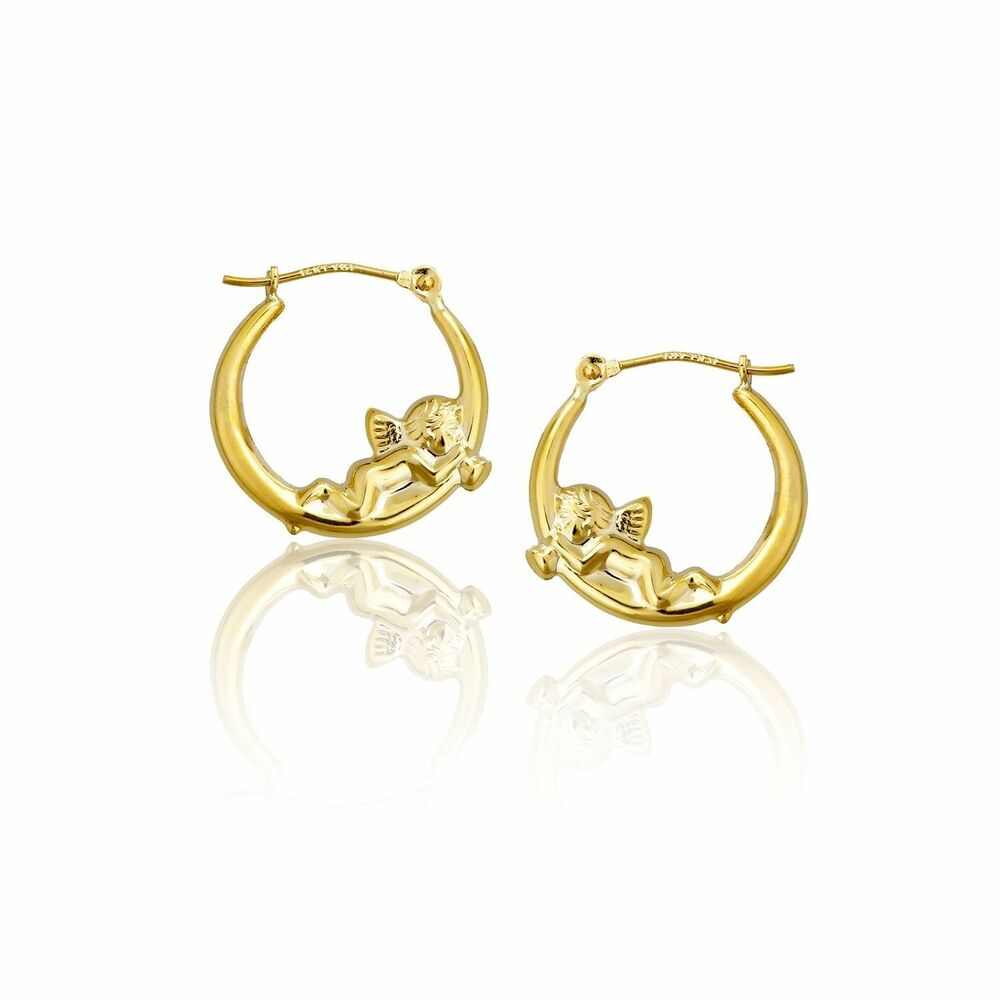 cherub angel shiny polished hoop earrings real 14k yellow. Black Bedroom Furniture Sets. Home Design Ideas