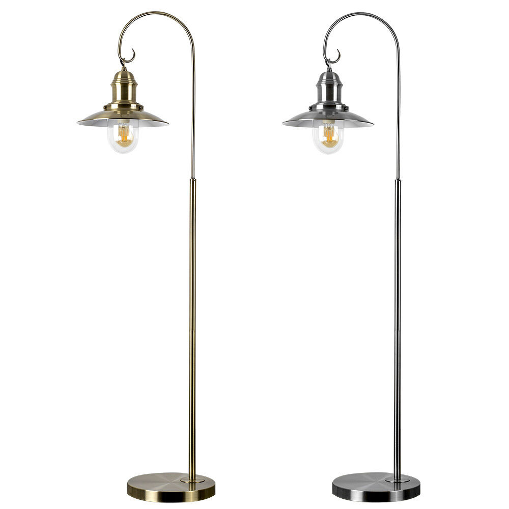 Fisherman floor standard chrome brass lamp living room for Living lighting floor lamps