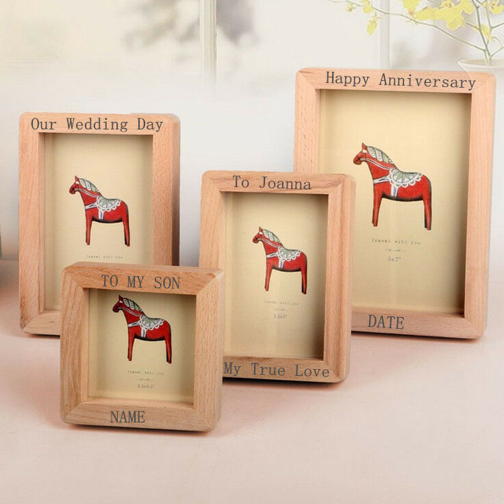 Personalised wooden photo frame engraved picture wedding for Home decorations on ebay