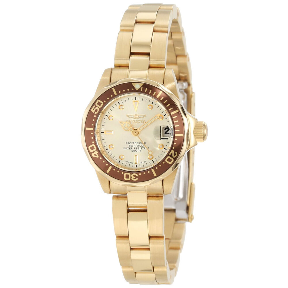 Invicta 12527 women 39 s gold plated steel champagne dial dive watch ebay for Watches on ebay
