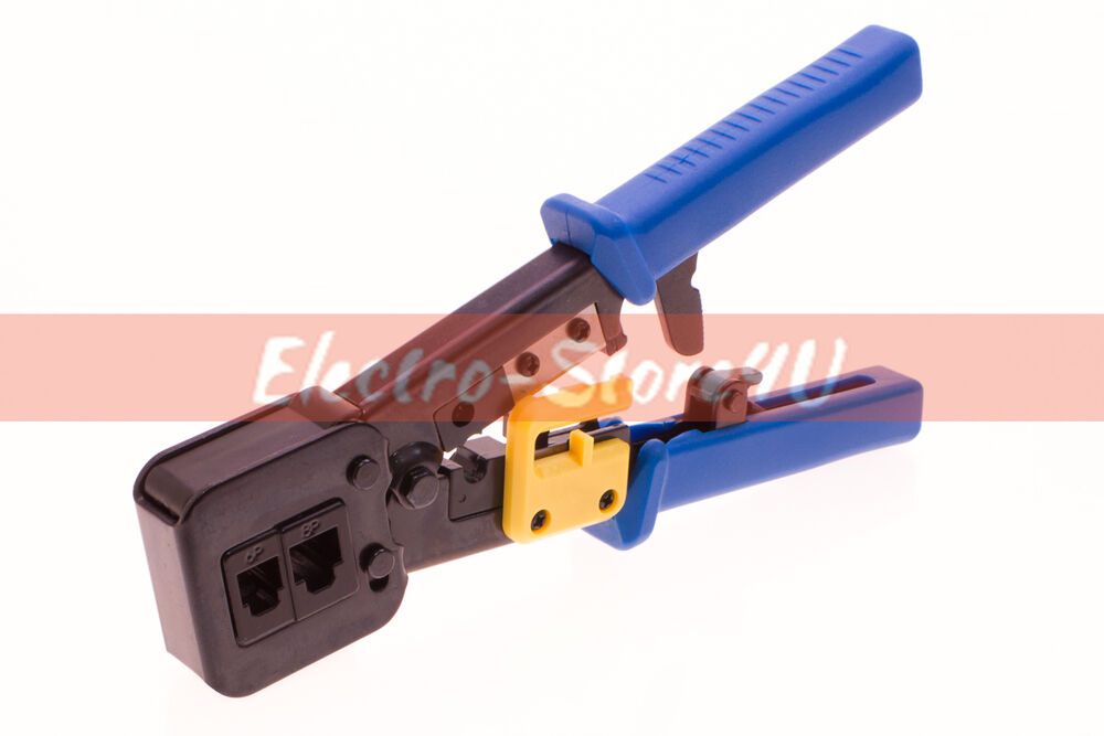 rj45 cat5e cat6 crimping tool cable cutter stripper connector end pass through ebay. Black Bedroom Furniture Sets. Home Design Ideas