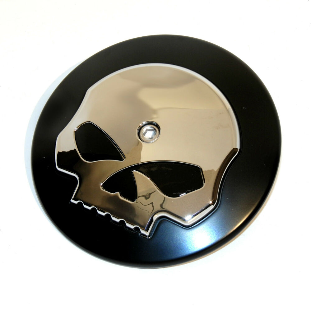 Skull Air Cleaner Cover : Skull black chrome air cleaner cover insert for harley