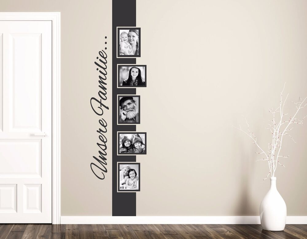 wandtattoo unsere familie wohnzimmer wandtatoo bilderrahmen foto banner pkm168 ebay. Black Bedroom Furniture Sets. Home Design Ideas