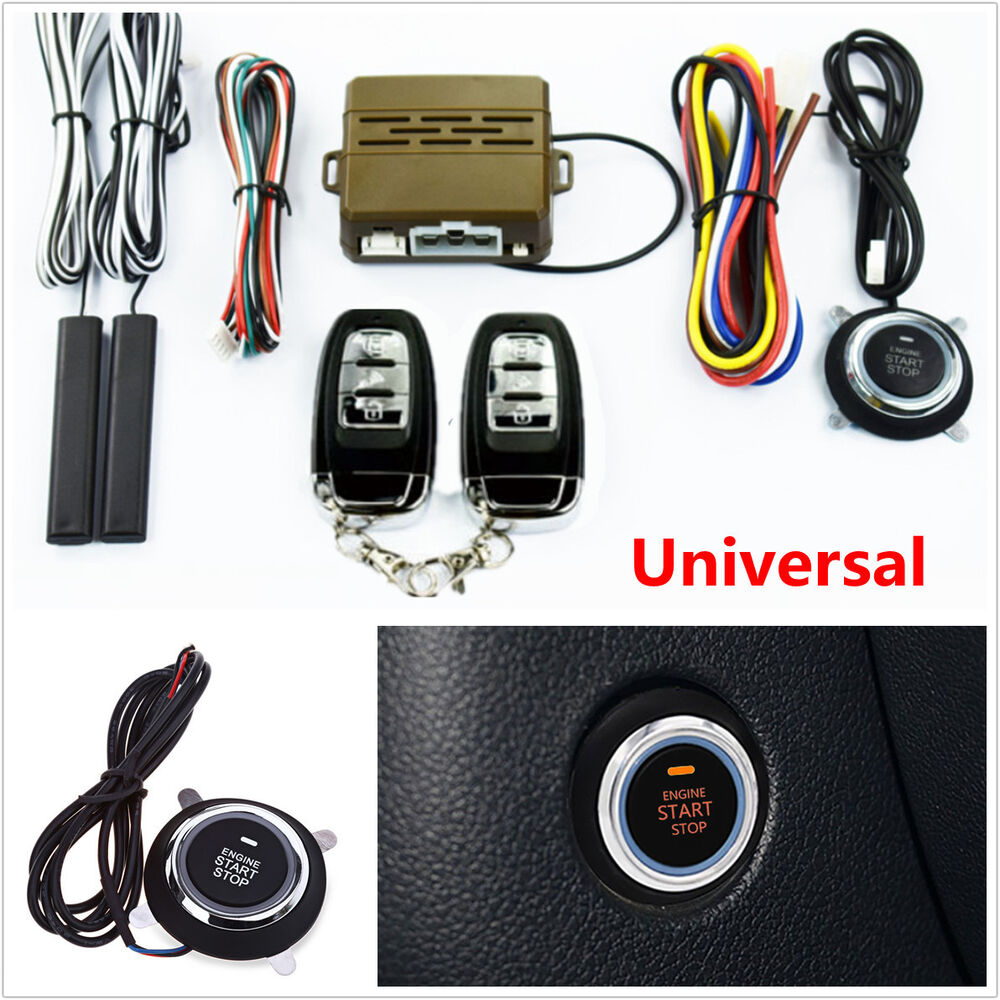 car alarm start security system key passive keyless entry push button remote kit 5462987444164. Black Bedroom Furniture Sets. Home Design Ideas