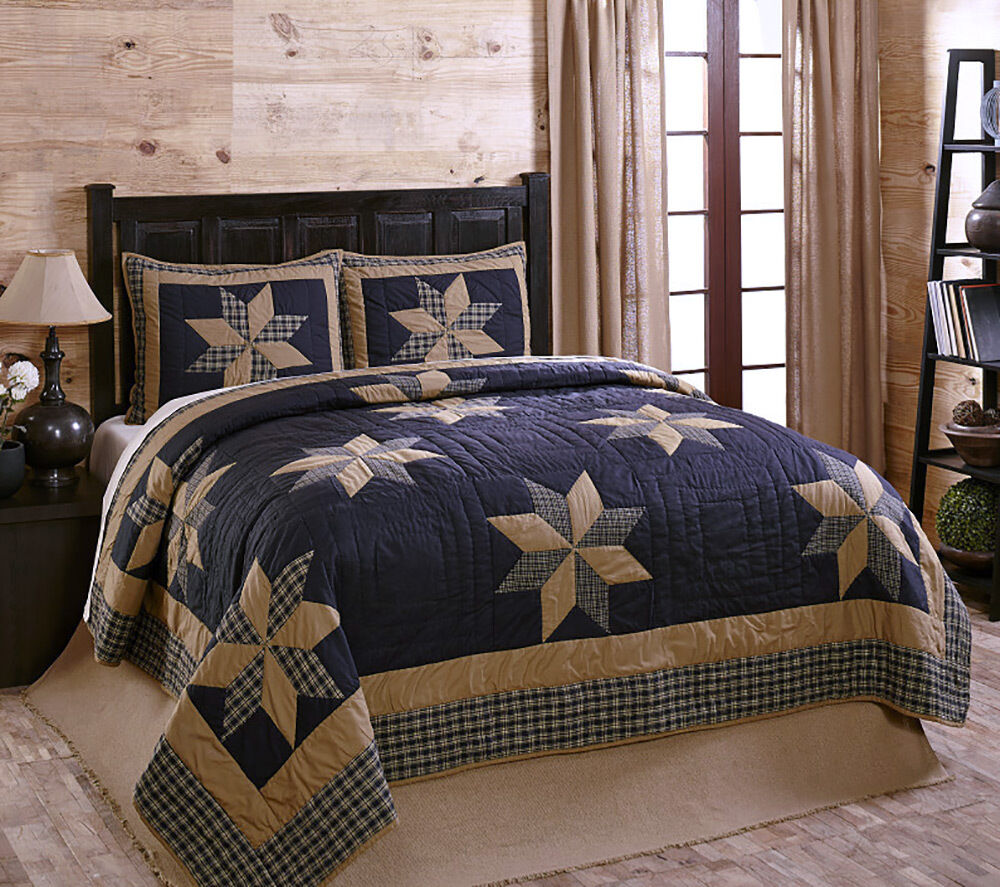 Navy Blue Tan Patchwork Quilt Set By Olivias Heartland