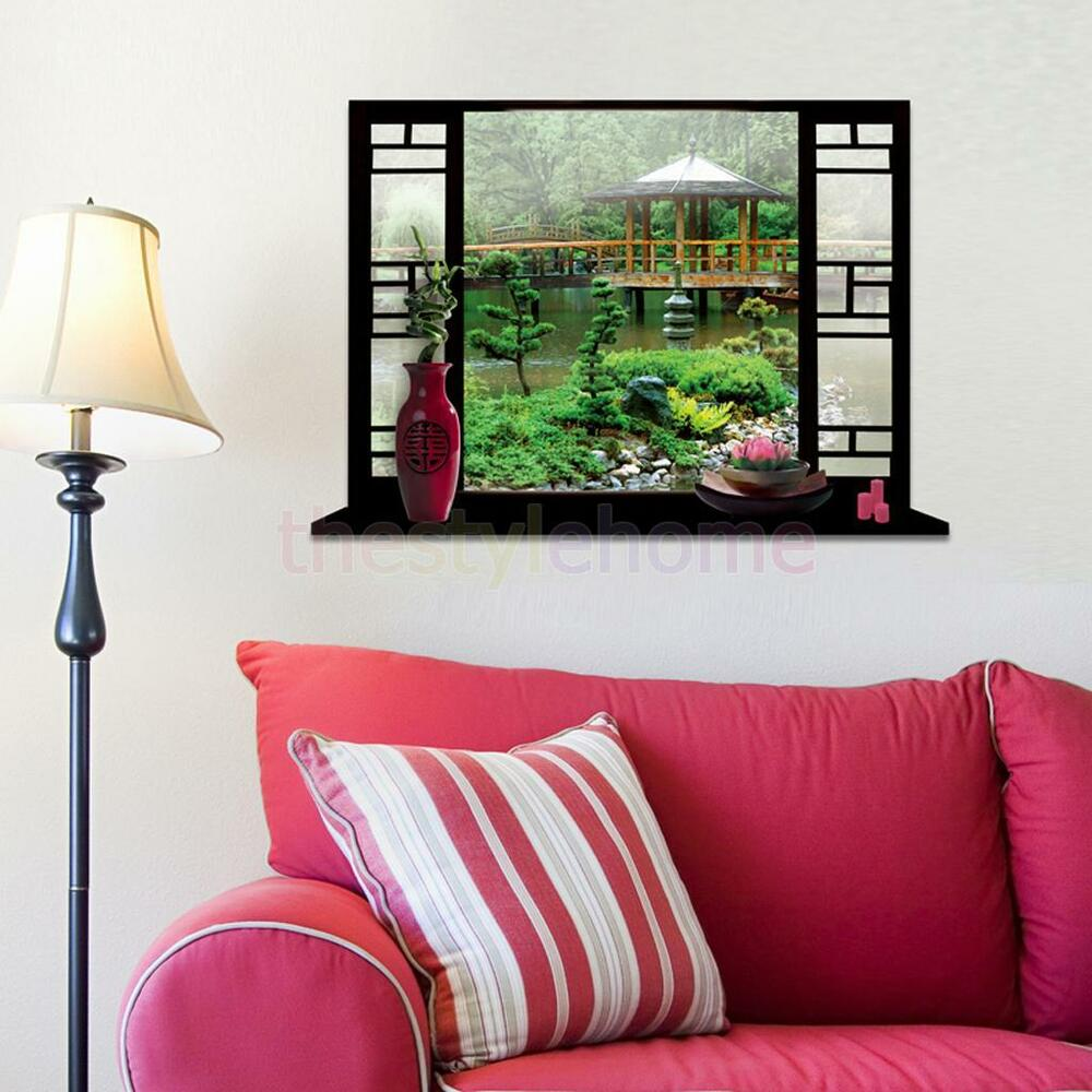 3d window view garden wall stickers art vinyl decal mural for Home wallpaper ebay