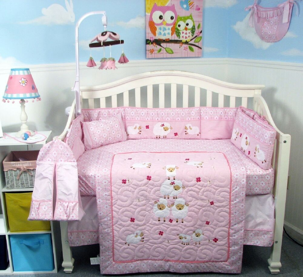 Baby bedding lamb theme sweet pea lamb baby bedding and nursery - Pink Crib Bedding Set Baby Sheep Infant Baby Girl Nursery 14 Pc Quilt