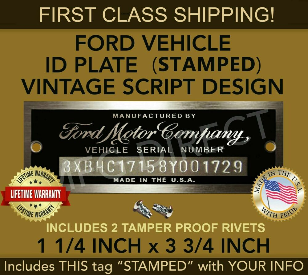 Ford serial number plate model a t stamped data tag for Ford motor company phone directory