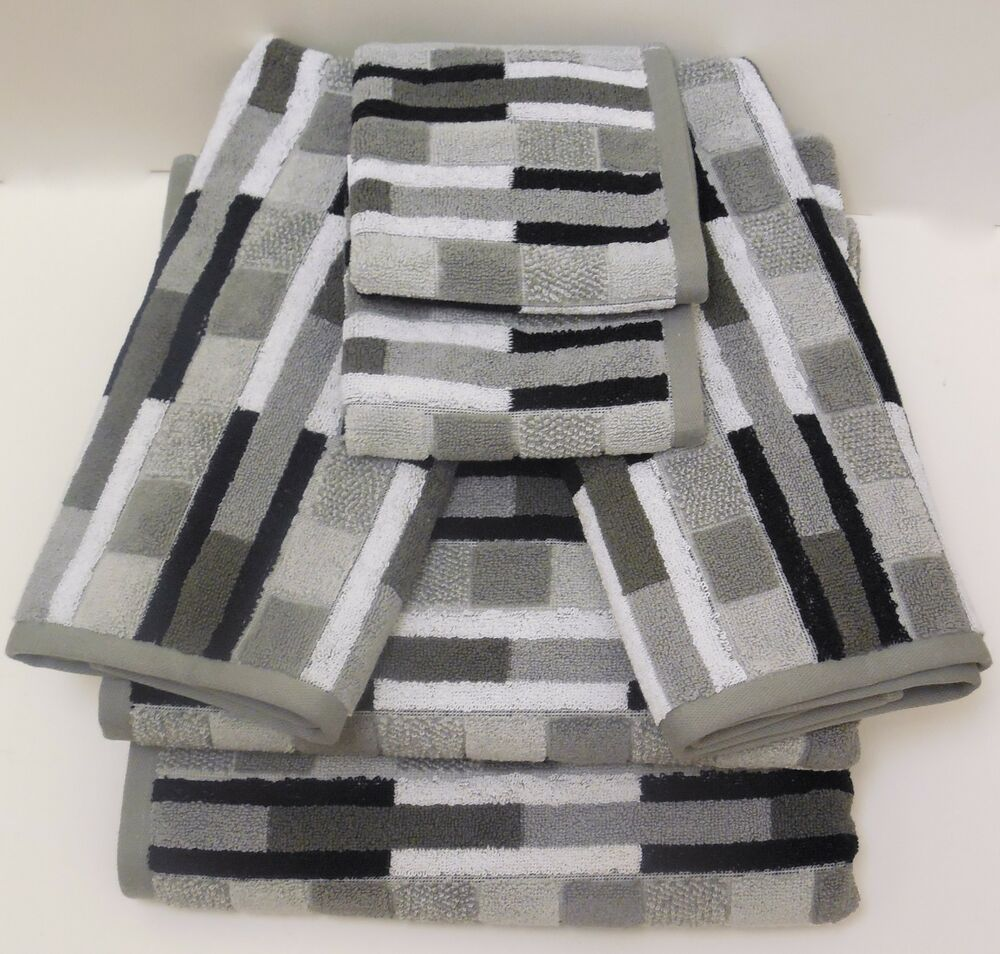 black and white bathroom towel sets geometric striped bath towel set black white gray blocks 6 25118