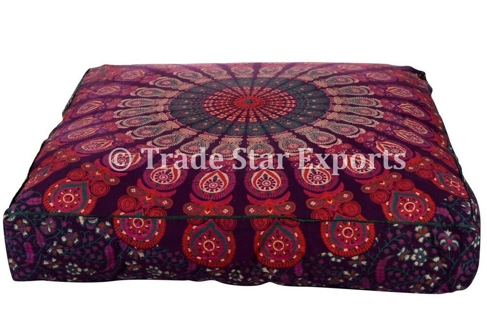 Large Square Decorative Pillow Covers : Decorative Square Dog Bed Cover Mandala Pillow Large Pet Bed Meditation Cushions eBay