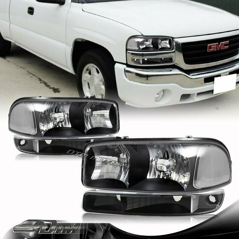 1999 2006 Gmc Sierra 1500 2500 Black Housing Headlights