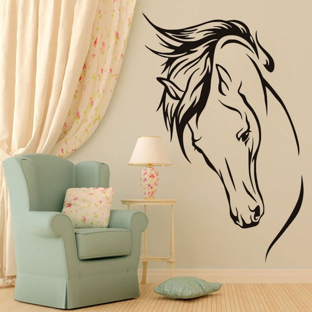 Removable Horse Head Vinyl Wall Decal Animal Stickers Home