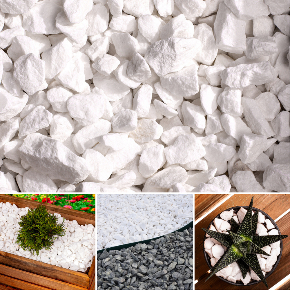Decorative marble white stones gravel chippings for Landscaping stones white