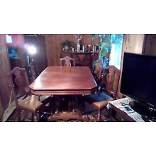 antique dinning set with sideboard and china cabinit
