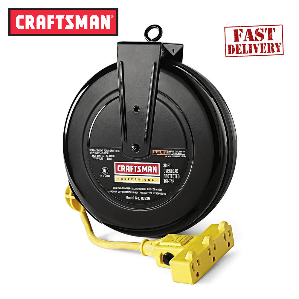 Retractable Extension Cord Reel >> Craftsman Retractable Reel Extension Cord 30 ft 3 Outlet ...