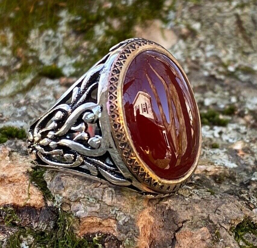 925k Sterling Silver Red Agate Aqeeq Men S Ring Usa I1j Gift For Him Ebay