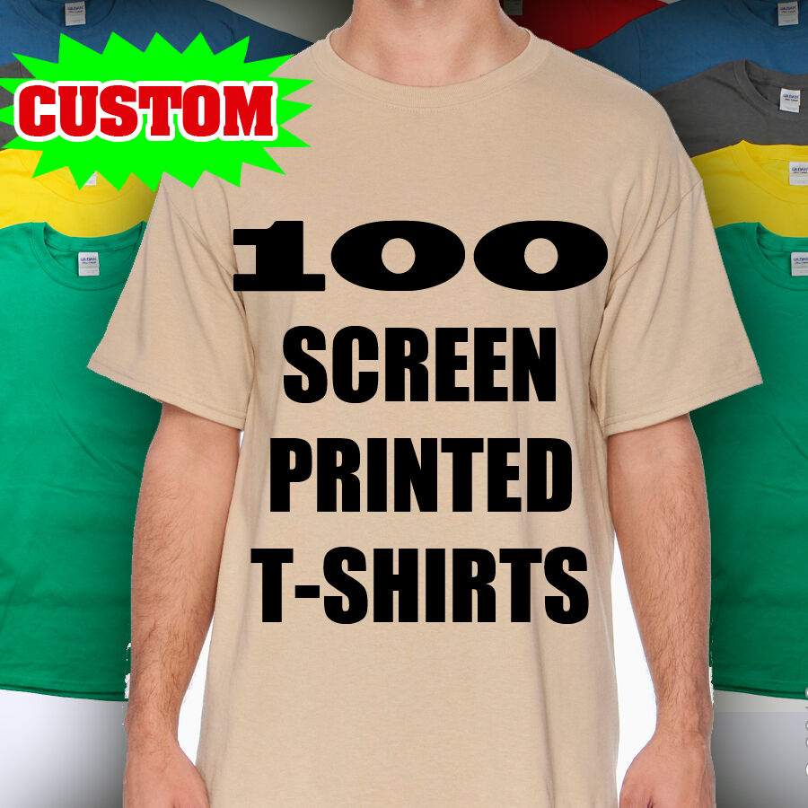 100 custom screen printed t shirts print one color ink 100 for Printed custom t shirts