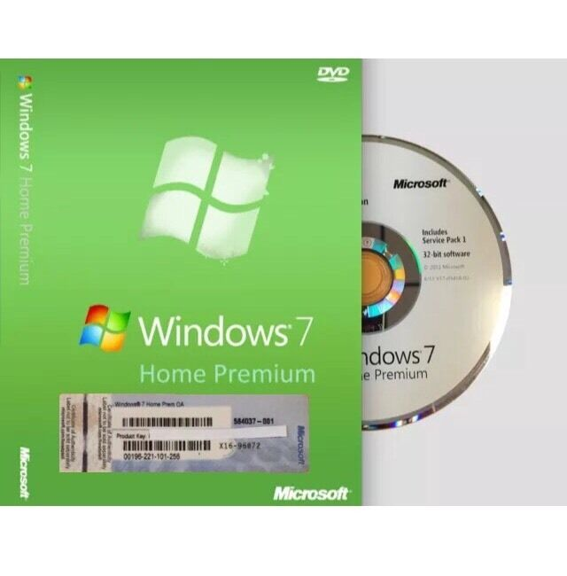 windows 7 home premium 32 bit by microsoft full version sp1 w coa ebay. Black Bedroom Furniture Sets. Home Design Ideas