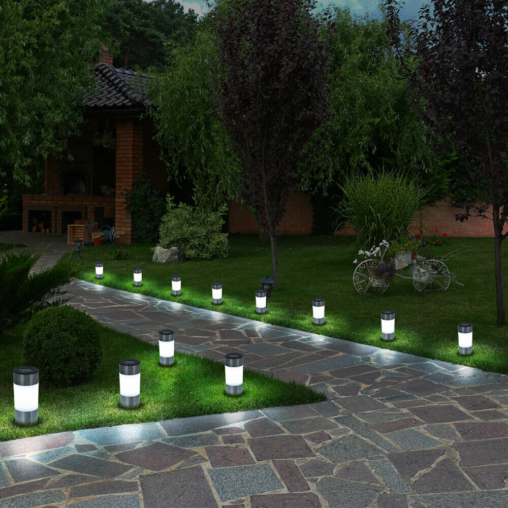 12x led solar leuchte garten stand licht au en steck lampe. Black Bedroom Furniture Sets. Home Design Ideas
