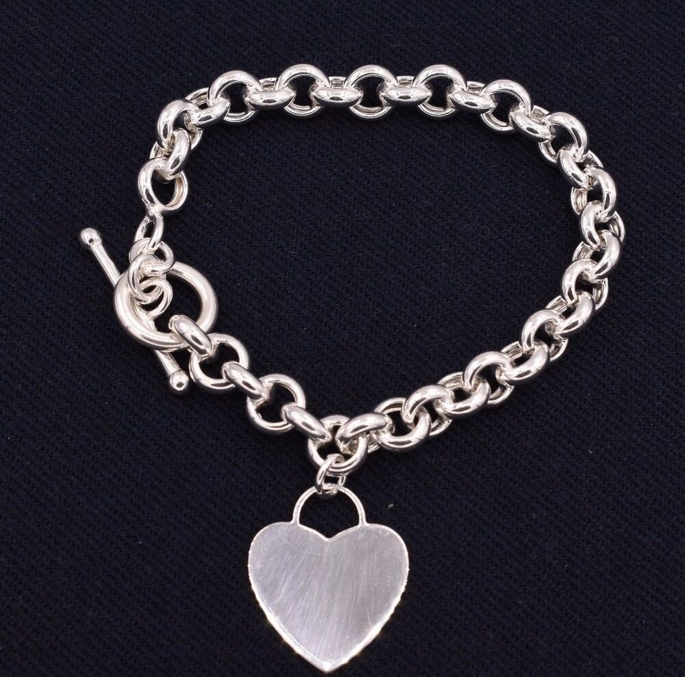 White Gold Chain Bracelet: Heart Toggle Charm BRACELET Rolo Chain 14K White Gold Clad