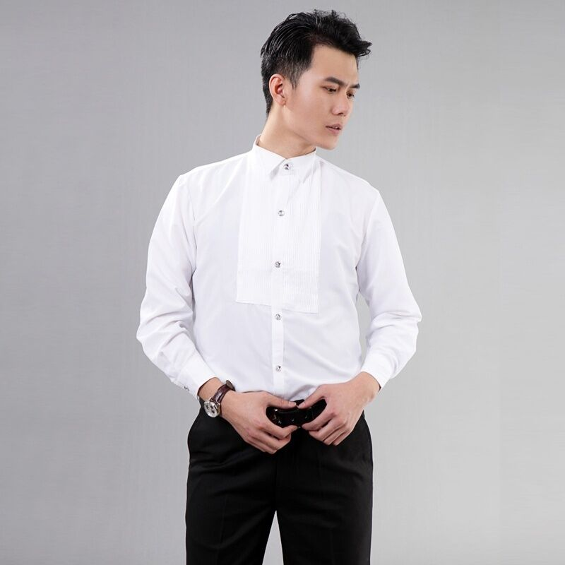 Wedding White Shirt: Men Gents White Wing Collar Pleated Front Evening Dress