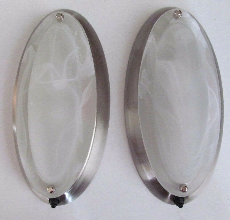 12 Volt Rv Ceiling Lights: 2 RV 12 Volt Nickel Oval Dome Dinette Ceiling Wall Cabinet