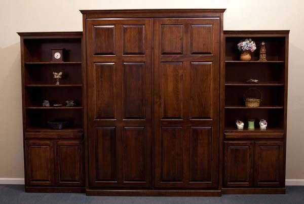 Custom Stained Quality Wood Raised Panel Murphy Bed Queen