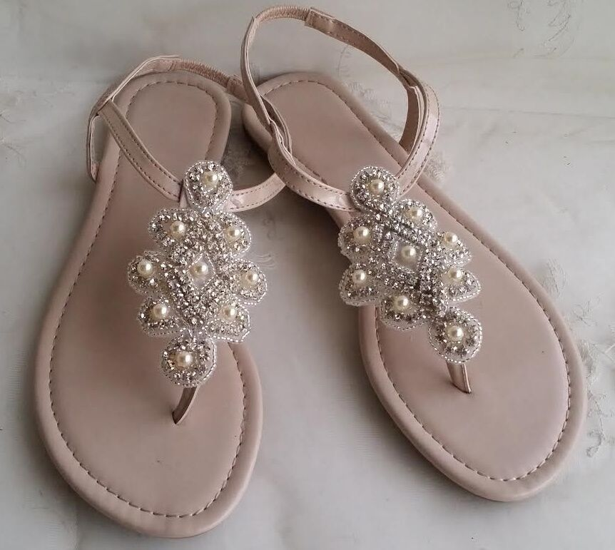 Beach Wedding Bridal Sandals With Pearl And Crystal Design Ebay