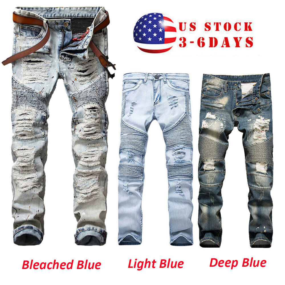 men 39 s stretchy ripped skinny biker jeans destroyed taped slim fit denim pants ebay. Black Bedroom Furniture Sets. Home Design Ideas