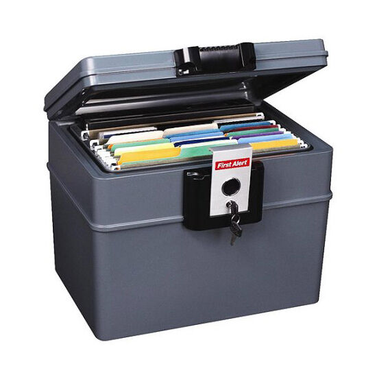 document safe fireproof waterproof locking file storage With documents in a safe
