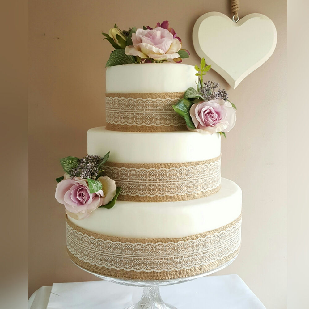 DIY Wedding Cake Decoration Topper With Roses Hessian ...