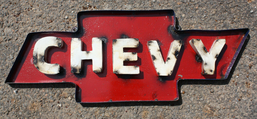 Recycled Tin Metal CHEVY Bow Tie Sign Gas Oil Garage Man