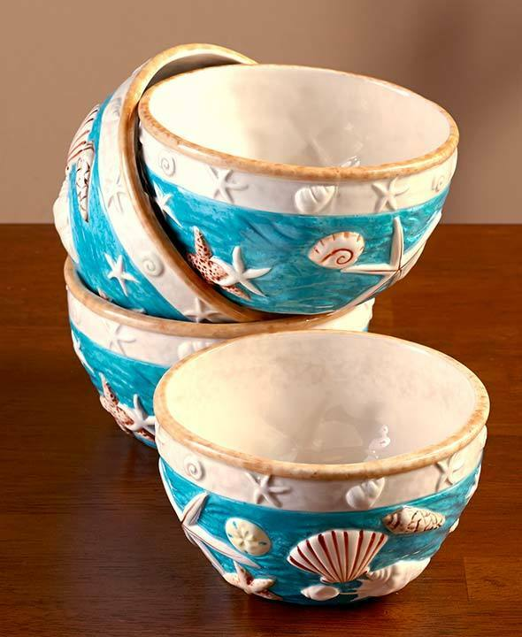 Sea Shell Dinnerware Bowl Set of 4 Seashell Beach Home ...