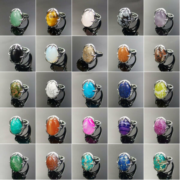 silver plated adjustable rings set with assorted natural gemstone beads stone
