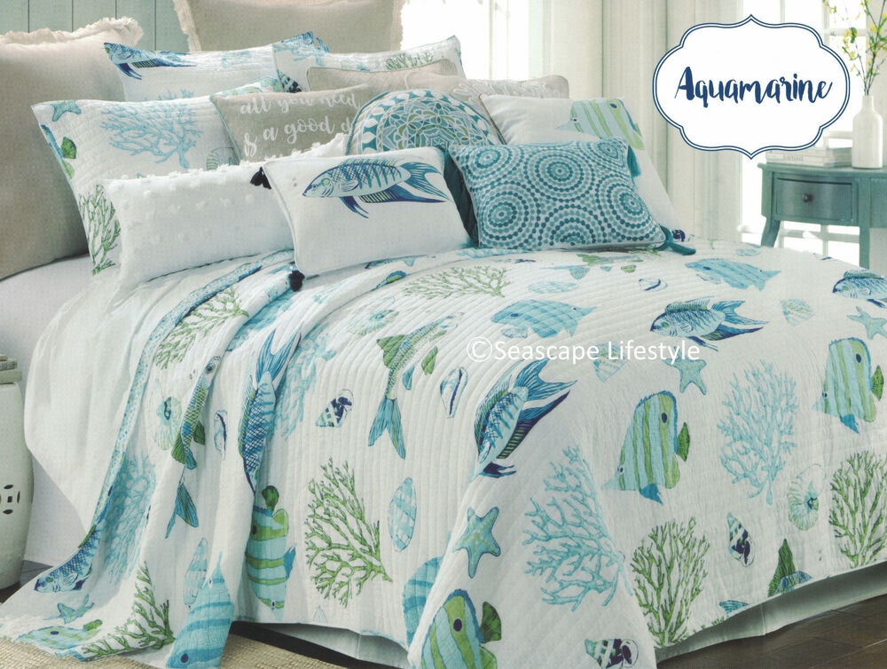 2 Pc ☆ Colorful Tropical Fish ☆ Twin Quilt Seashells