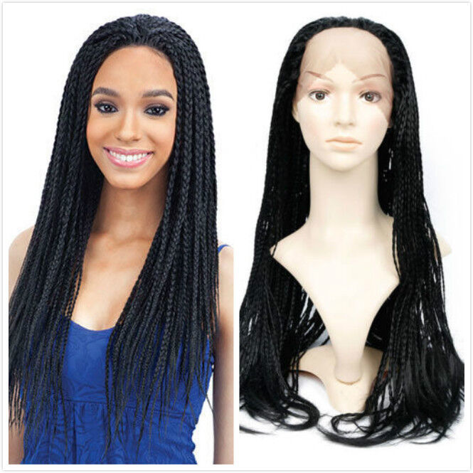 Synthetic 22 Black Lace Front Wig Full Head Senegalese