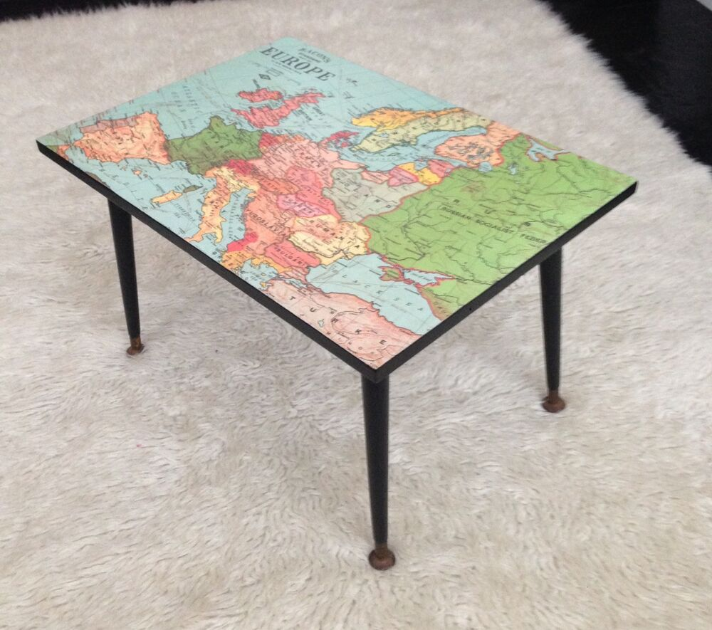 Vintage Retro 1950 39 S Upcycled Map Of Europe Atomic Coffee Table Side Table Ebay