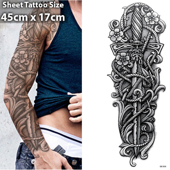 Sword Full Arm Temporary Tattoo Sleeve Stickers Body Art