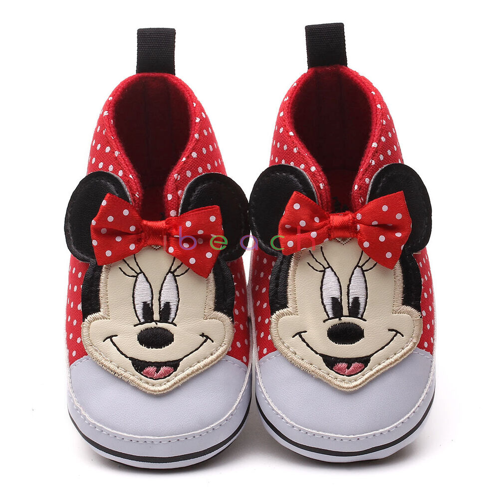 206987ed31f8 Details about Baby Girl Red Polka Dot Minnie Mouse Crib Shoes Pre-Walker  Newborn to 12 Months